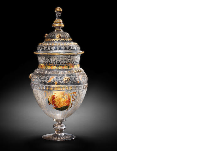 A façon de Venise diamond-point engraved, gilt and 'cold-painted' vase and cover, Court Glasshouse, Innsbruck or Venice, 1570-90