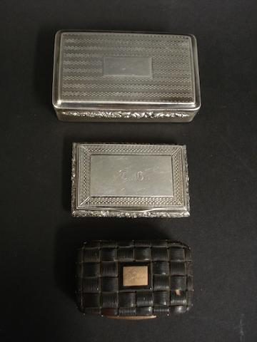 A William IV silver rectangular snuff box by Thomas Shaw, Birmingham 1830
