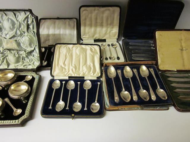 A Victorian cased set of four silver salts, London 1866,   (7 cases)