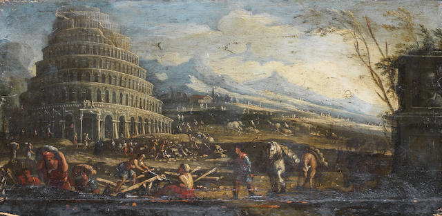 North Italian School, 18th Century  The Tower of Babel unframed