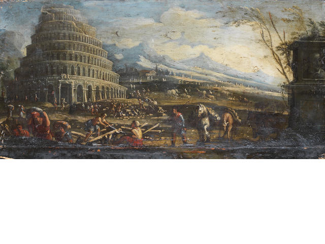 Northern Italian School, 18th Century  The Tower of Babel unframed