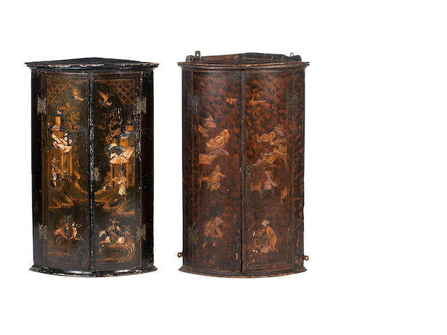 Two similar 18th century and later  japanned corner cabinets