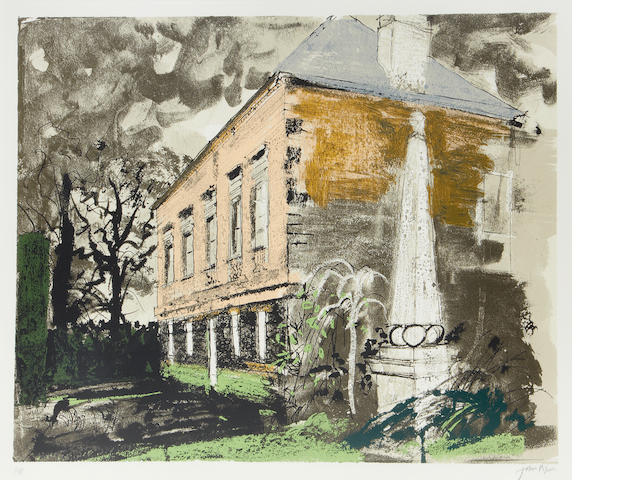 John Piper CH (British, 1903-1992) St Helen's Hall Screenprint, 1981, printed in colors, on Arches, signed in pencil, a proof aside from the numbered edition of 70, (there were 10AP, 5HC & 5PP), printed by Kelpra Studio, with their blindstamp, published by Marlborough Fine Art, 578 x 700mm (22 2/3 x 27 1/2in)(I)