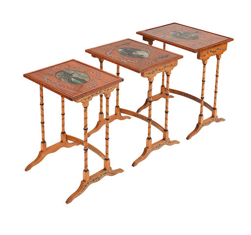 An Edwardian painted satinwood trio set of graduated tables