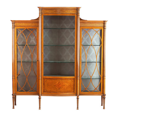 An Edwardian satinwood and inlaid display cabinet