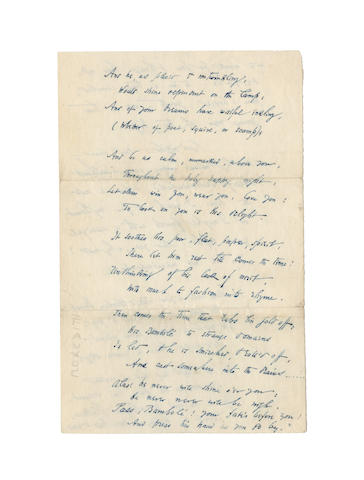 MEREDITH, GEORGE (1828-1909) AUTOGRAPH MANUSCRIPT OF AN UNPUBLISHED AND UNRECORDED POEM ADDRESSED TO JANET [ROSS], [after 1859]