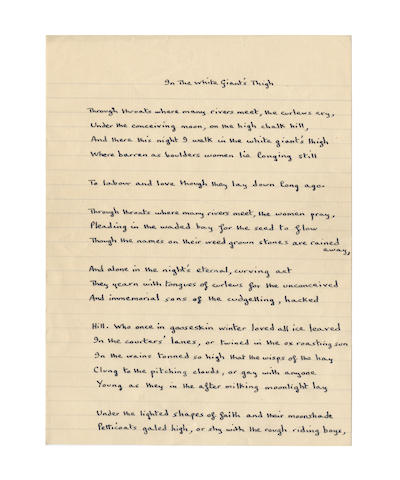 THOMAS DYLAN (1914-1953, Welsh poet) AUTOGRAPH MANUSCRIPT OF HIS POEM 'IN THE WHITE GIANT'S THIGH', [1947-1951]