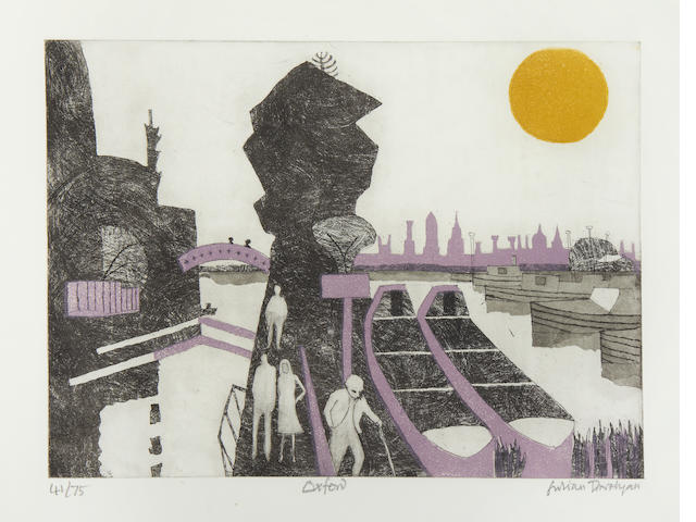 Julian Trevelyan R.A. (British, 1910-1988) Oxford Etching with aquatint printed in colours, 1969, on wove, signed, titled and numbered 41/75 in pencil, published by London Graphics, printed by Geoffrey Beardsall and Dorothea Wight, 350 x 470mm (13 3/4 x 18 1/2in)(PL)