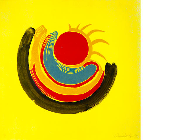 Sir Terry Frost R.A. (British, 1915-2003) Trewellard Suns (Untitled 07) Colour linocut, 1990, on Zerkall 225gsm paper, signed, dated and inscribed 'A/P' in pencil, an artist's proof aside from the numbered edition of 40, published by The Paragon Press, London, printed by Vivien Hendry, London, the full sheet, 641 x 638mm (25 1/4 x 25in)(SH)