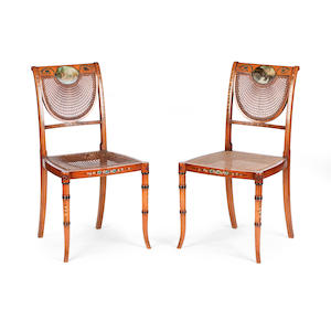 A pair of Edwardian painted satinwood bedroom chairs