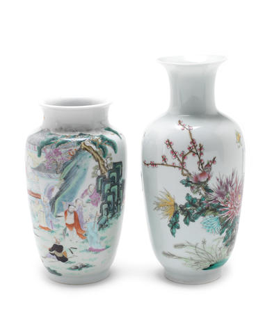 Two famille rose vases 20th century, Qianlong seal marks