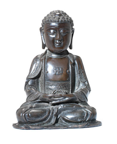 A bronze figure of Sakyamuni, The Historical Buddha Ming or Qing Dynasty