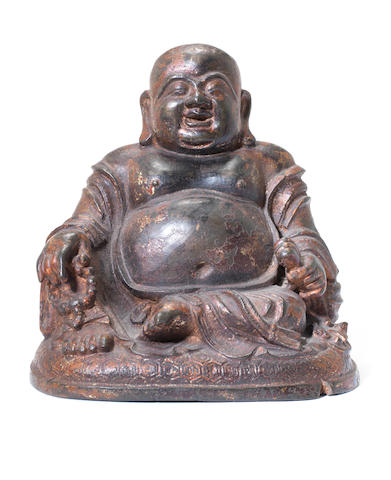 A lacquered bronze figure of Budai