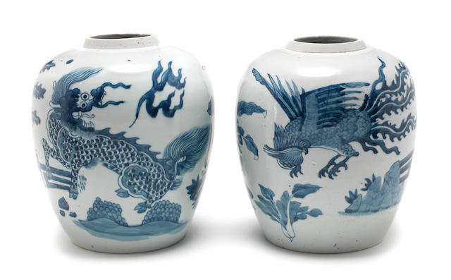 A pair of blue and white oviform vases