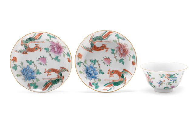 Three famille rose porcelains Qing Dynasty or later