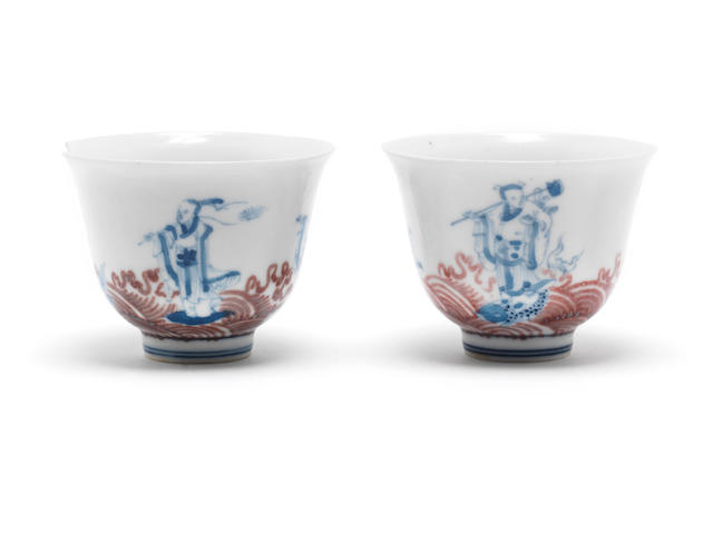 A pair of underglaze blue, and underglaze-red cups Four-character hallmark, Precious Collection of the Seemingly Old