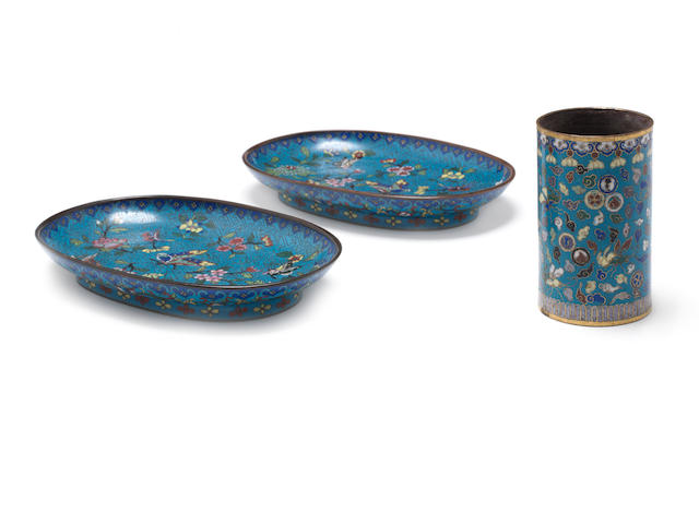 Two cloisonne enamel oval dishes and a circular brush pot, bitong
