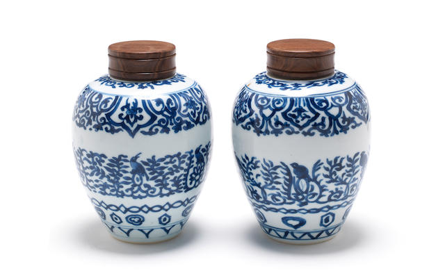 A pair of blue and white, oviform vases
