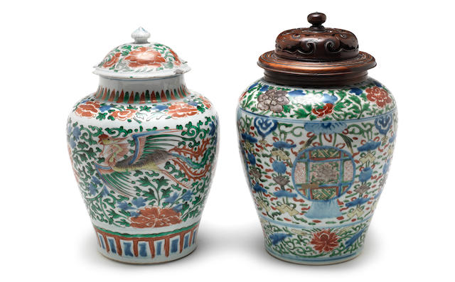 Two wucai jars and covers 17th century