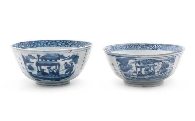 Two blue and white 'Red Cliff' bowls Yongle four-character marks