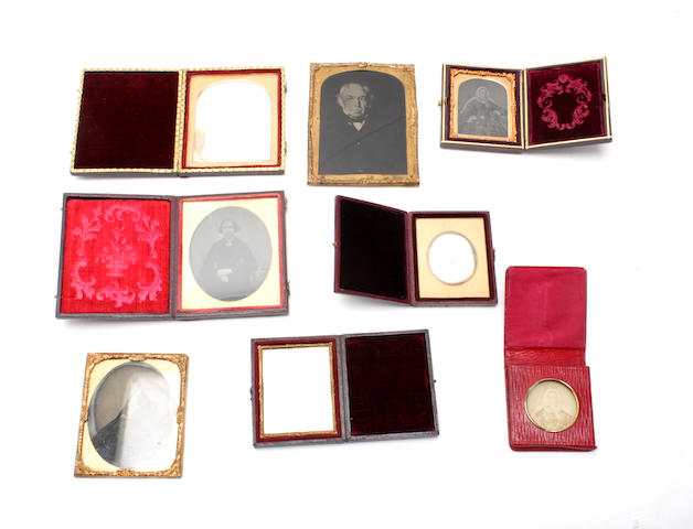 A group a various cased antique photographs
