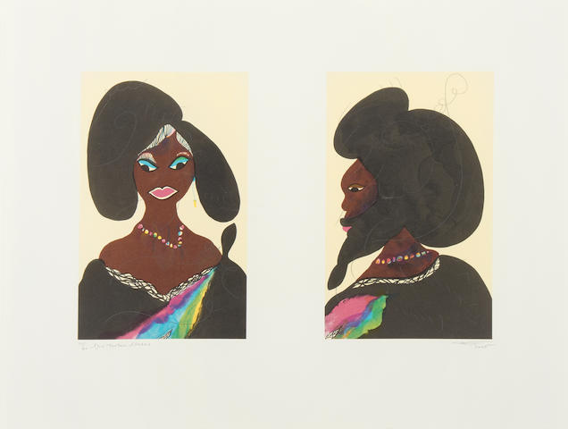 Chris Ofili (British, 1968) Afro Harlem Muses Two lithographs printed in colours with embossing, 2005, on one sheet of Somerset velvet, signed, titled, dated and numbered 39/60 in pencil, published by David Zwirner Gallery, New York, with full margins,