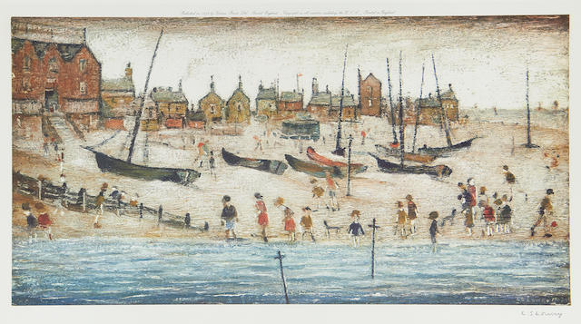 Laurence Stephen Lowry R.A. (British, 1887-1976) The Beach ; Deal Two offset lithographs, one printed in colours, 1973, each on wove, one signed in pencil, one signed in pen, each from the edition of 850, published by Venture Prints, Bristol, 260 x 505mm (10 1/4 x 20in)(I)(2)