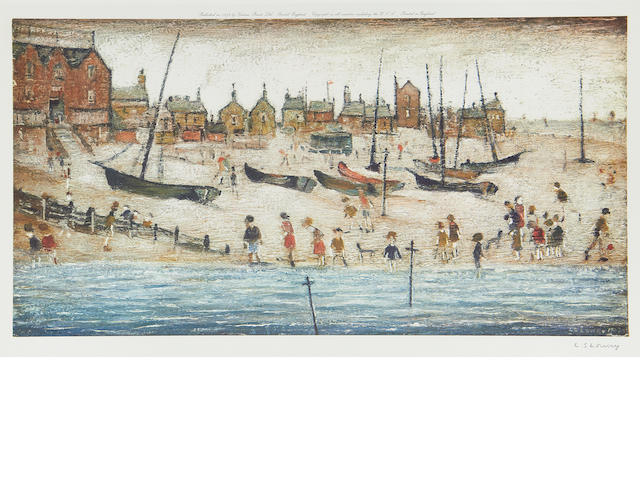 Laurence Stephen Lowry R.A. (British, 1887-1976) Beach scene + Deal (2 works)