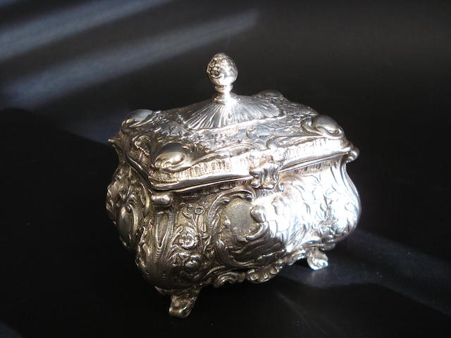 An Edwardian silver tea caddy John Millward Banks, Chester 1903