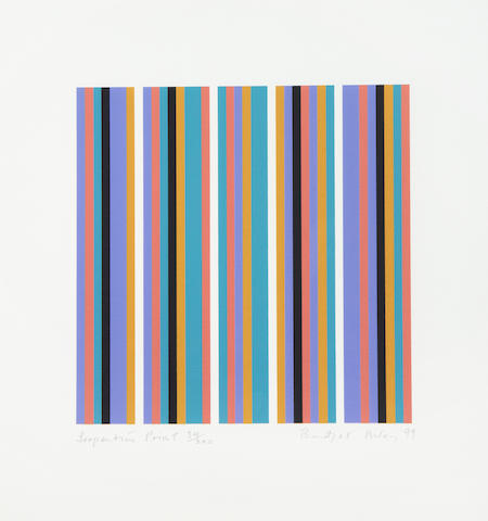 Bridget Riley (British, born 1931) Serpentine Print Screenprint in colours, 1999, on wove, signed, dated, titled and numbered 34/200 in pencil, printed by Artizan Editions, Hove, with full margins, 255 x 255mm (10 x 10in)(I)