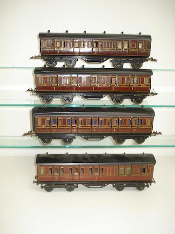 Four Bing for Bassett-Lowke LMS bogie passenger coaches 4