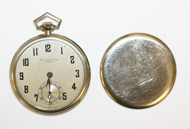 A slim line open faced pocket watch,