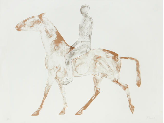 Dame Elisabeth Frink R.A. (British, 1930-1993) The Grey Rider Lithograph, 1970, on TH Saunders wove, signed and numbered 321/500 in pencil, printed at Curwen Studio, published by Leslie Waddington Prints Ltd, 585 x 780mm (23 x 30 3/4in)(SH)
