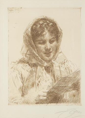 Anders Zorn (Swedish, 1860-1920) The Letter Etching, 1913, on laid, the second and final state, signed in pencil, 154 x 115mm (6 x 3 3/4in)(PL)