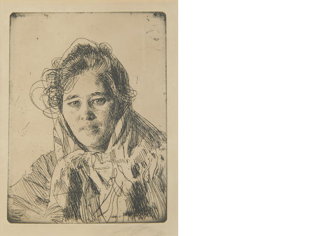 Anders Zorn (Swedish, 1860-1920) Young Girl from Mora Etching, 1903, on laid, the third state of four, signed in pencil, 157 x 118mm (6 1/4 x 4 1/2in)(PL)