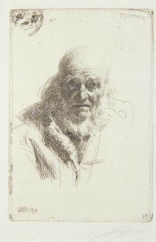 Anders Zorn (Swedish, 1860-1920) Djos Mats Etching, 1911, on laid, the third and final state, signed in pencil, 175 x 118mm (7 x 4 1/2in)(PL)