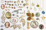 A collection of jewellery including including a Victoria sovereign, 1899, in 9ct gold pendant mount, on chain, a Victoria half sovereign ring, an 18ct gold mounted diamond cluster ring, three 9ct gold wedding bands, an emerald and diamond square cluster ring, further rings, pendants, etc, together with a collection of assorted costume jewellery.