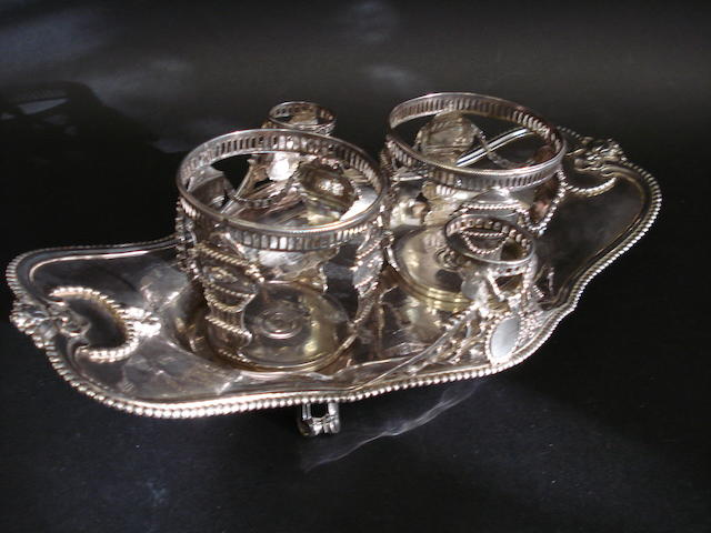 A French Louis XVI silver condiment stand   Paris 1784, also later .950 standard Minerva's head, imported London Assay Office, 1945