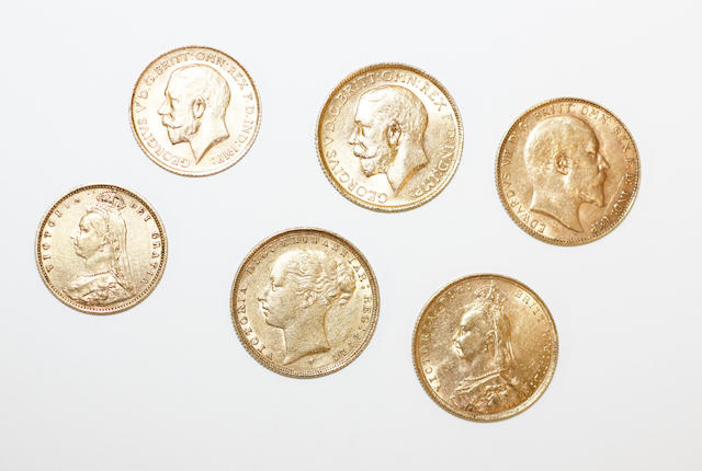 Four sovereigns and two half-sovereigns