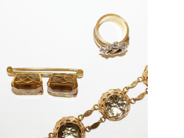 A buckle ring, citrine bracelet and brooch,