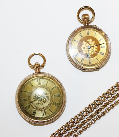 A fancy-link chain and two open face pocket watches, (3)