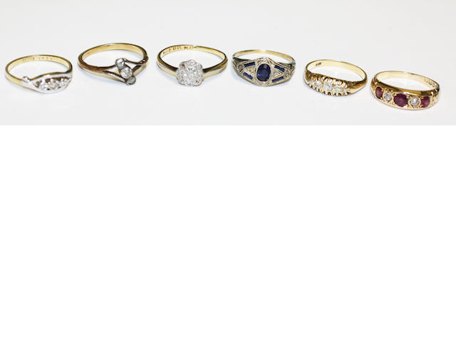 A collection of six vari gem-set rings, (6)