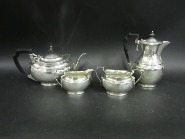 A silver four piece tea service Sheffield 1929/30