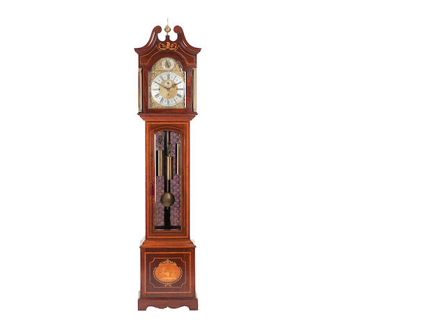An Edwardian mahogany and satinwood-banded longcase clock