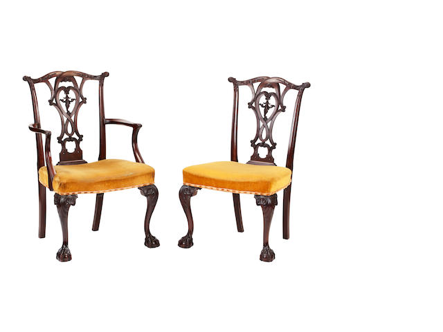 A set of eight George III style mahogany dining chairsLate 19th century
