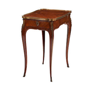 A French Louis XVI style kingwood and gilt-brass bound side table19th century