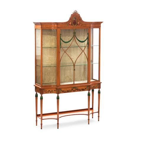 A Victorian painted satinwood display cabinetIn the manner of Wright and Mansfield