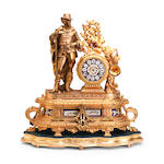 A 19th century gilt-metal and Sèvres style figural mantel clock