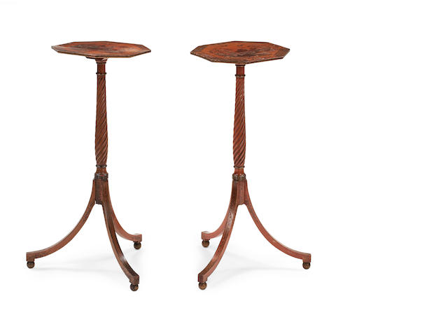 A pair of Regency red lacquered and chinoiserie decorated tripod tables