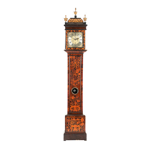 A William and Mary walnut and marquetry longcase clock inscribed John Billic recorded London 1687-1699.